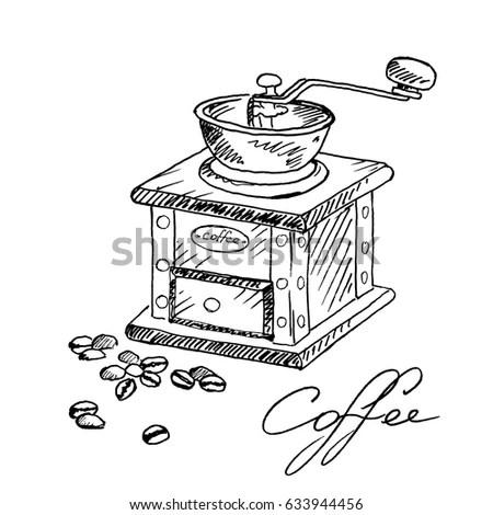 Hand Drawn Vintage Coffee Grinder Coffee Stock Vector