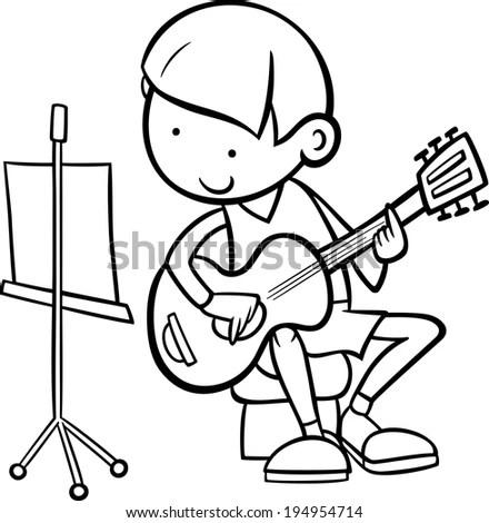 Black White Cartoon Vector Illustration Cute Stock Vector