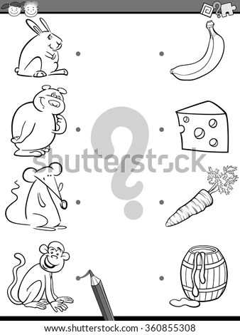Black White Cartoon Vector Illustration Funny Stock Vector