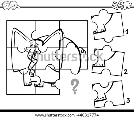 Black White Cartoon Vector Illustration Jigsaw Stock