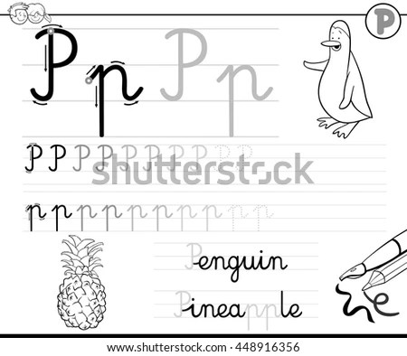 Black White Cartoon Illustration Writing Skills Stock
