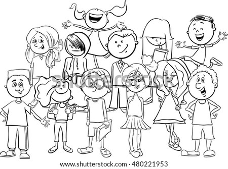 Black White Cartoon Illustration Elementary School Stock