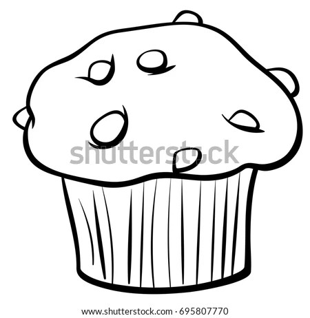 Black White Cartoon Illustration Sweet Muffin Stock