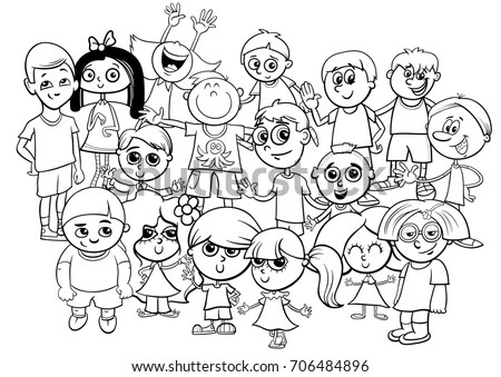 Black White Cartoon Illustration Preschool Elementary