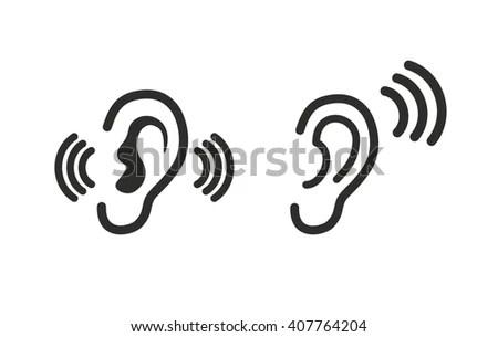 Ear Listening Hearing Audio Sound Waves Stock Vector