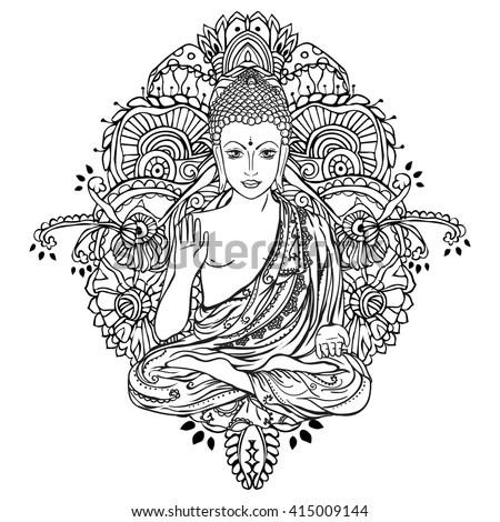 Sitting Buddha Over Ornate Mandala Round Stock Vector