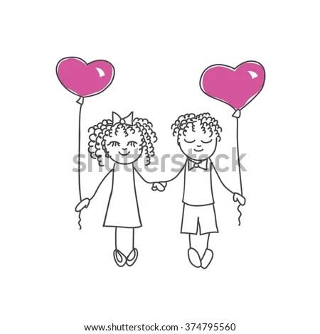 Cute Cartoon Couple Heart Shaped Balloons Stock Vector