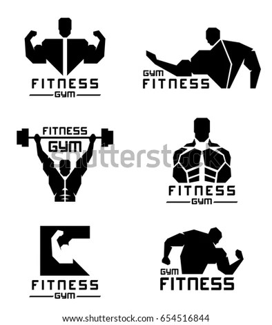 Fitness Gym Logo Mens Muscle Strength Stock Vector