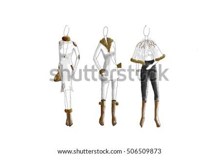 Pencil Sketches Dress Designs Stock Photos, Royalty-Free