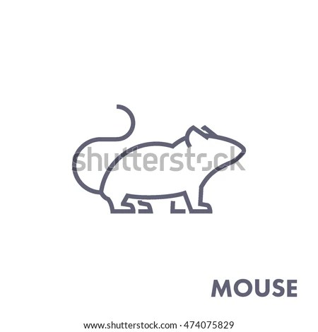 Line Vector Figure Mouse Vector Outline Stock Vector