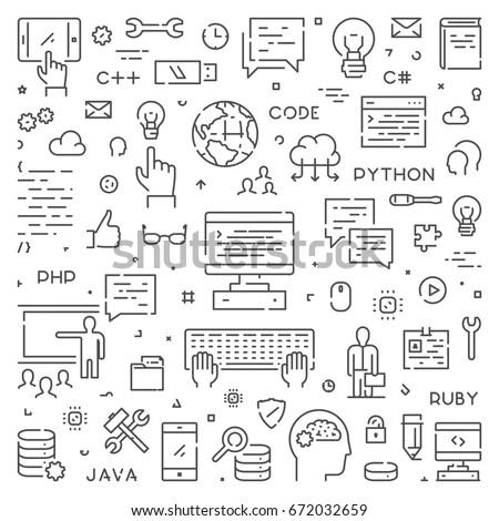 Line Web Concept Computer Science Modern Stock Vector