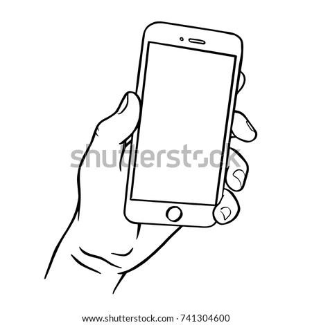 Mobile Phone Hand Front View Sketch Stock Vector 506906674