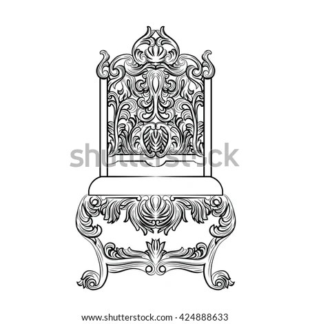 Baroque Luxury Style Furniture Chair Throne Stock Vector