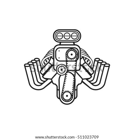 V8 Engine Block Diagram Sketch Coloring Page