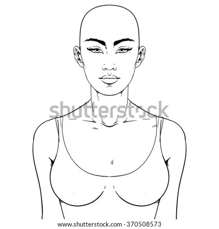 Fashion Illustration Asian Type Face Face Stock Vector
