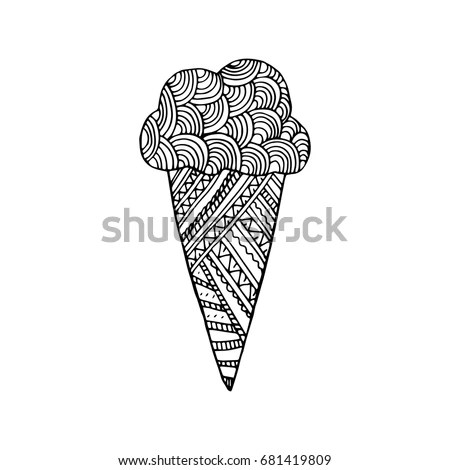 Icecream Zentangle Inspired Coloring Book Page Stock
