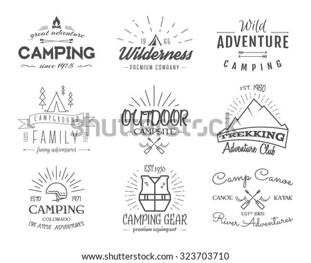 Set of retro badges and label logo graphics. Camping