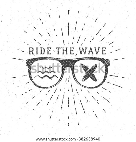 Vintage Surfing Graphics Poster Web Design Stock Vector