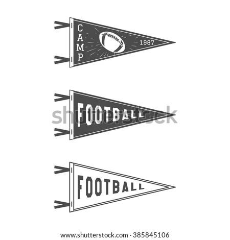 College Football Pennant Flags Set Vector Stock Vector