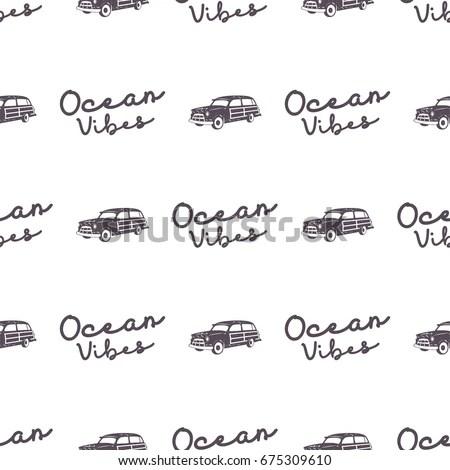 Set Vintage Surfing Graphics Emblems Web Stock Vector