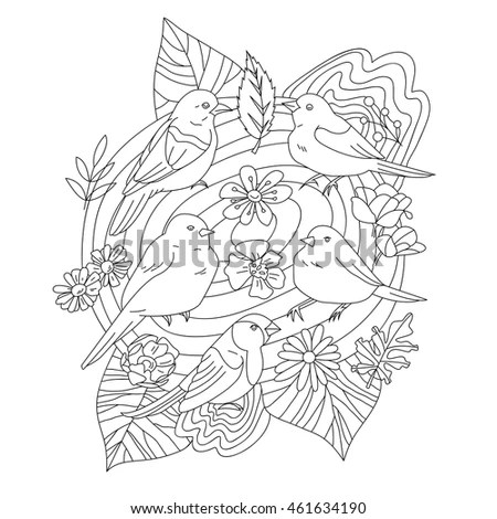 Vector Outlines Adult Coloring Book Page Stock Vector