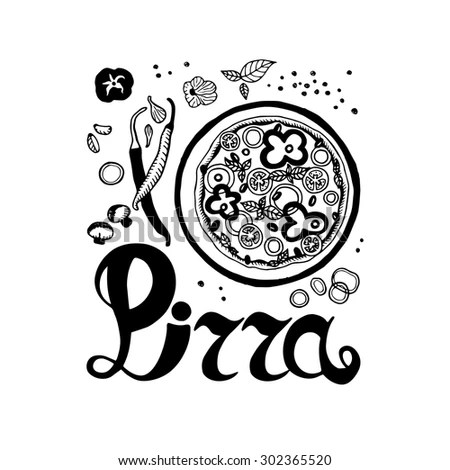Drawn Pizza Stock Photos, Royalty-Free Images & Vectors