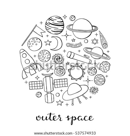 Hand Drawn Outline Space Icons Including Stock Vector