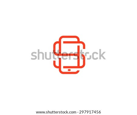 Letter S Logo Design Smartphone Lined Stock Illustration