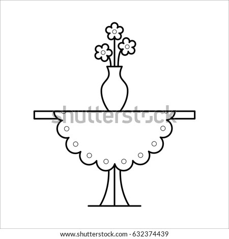 Small Coffee Side Table Tablecloth Vase Stock Vector