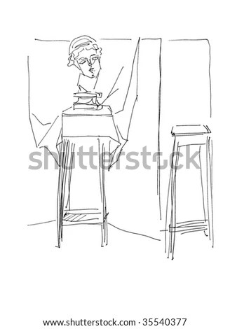 Lady Writing Desk Retro Clipart Illustration Stock Vector