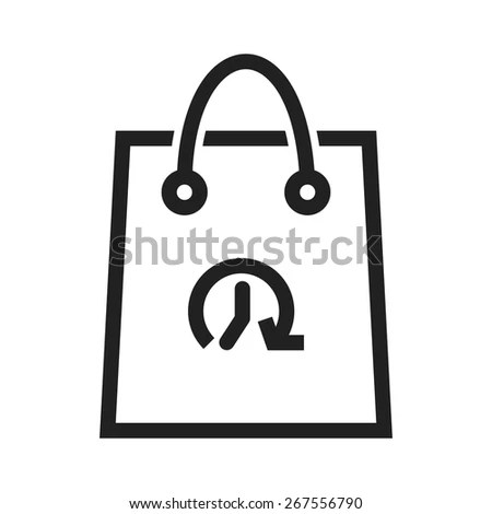 Shopping, bag, hand carry, limited time offer icon vector