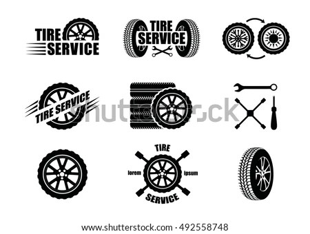 Tire Service Icons Logotypes Vector Tire Stock Vector