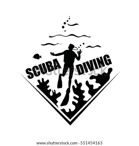 Scuba Diving Icon Corals Diving Man Stock Vector (Royalty