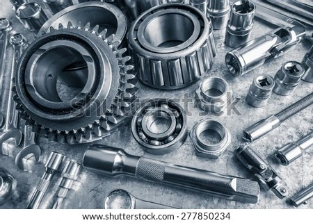 Many Different Auto Car Spare Parts Stock Photo 104114273