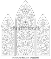 Architectural Window Design Drawings Sketch Coloring Page
