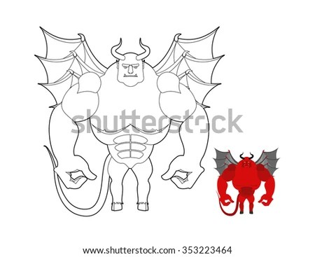 Devil coloring book. Red demon with wings and horns