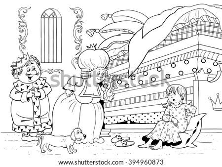 Princess On Pea Fairy Tale Illustration Stock Illustration