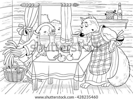 Russian Fairy Tale Fox Stork Illustration Stock