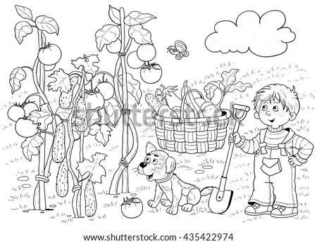 Garden Cute Boy His Puppy Picking Stock Illustration