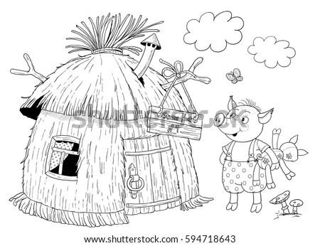 Three Little Pigs Fairy Tale Cute Stock Illustration