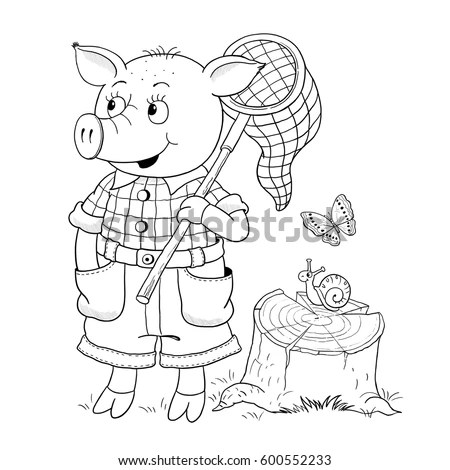 Three Little Pigs Fairy Tale Cute Stock Illustration