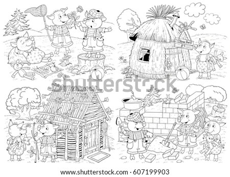Three Little Pigs Fairy Tale Coloring Stock Illustration