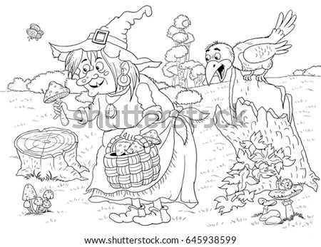 Fairy Tale Cute Witch Picking Mushrooms Stock Illustration