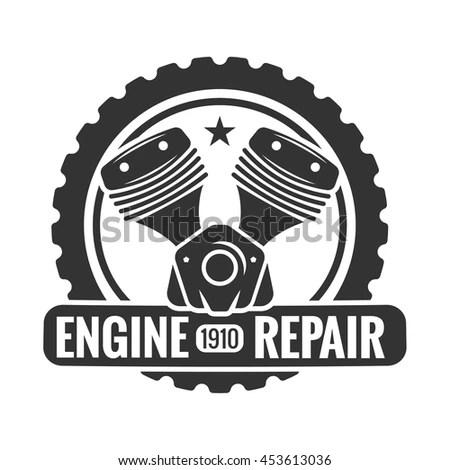 Repair Service Motorcycle Engine Logo Emblem Stock Vector