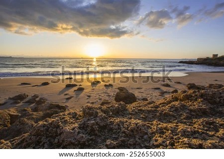 landscape rocky beach sunset el
