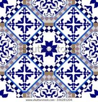 Flooring Made Blue Ceramic Tiles Moroccan Stock Vector ...