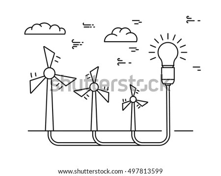 Ecology Power Concept New Energy Type Stock Vector