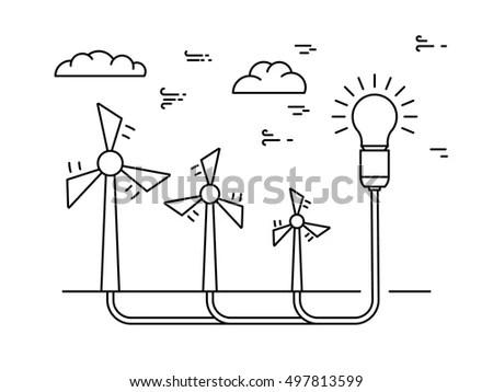 Ecology Power Concept New Energy Type Stock Vector