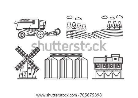Vector Illustration Bread Processing Harvesting Delivery