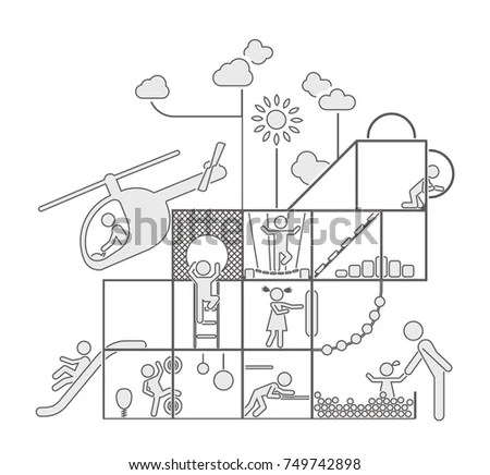 Children Play On Playground Pictogram Icon Stock Vector